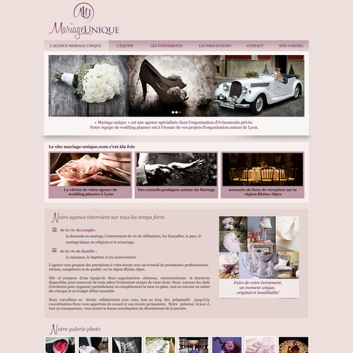 Wordpress template for a wedding planner website