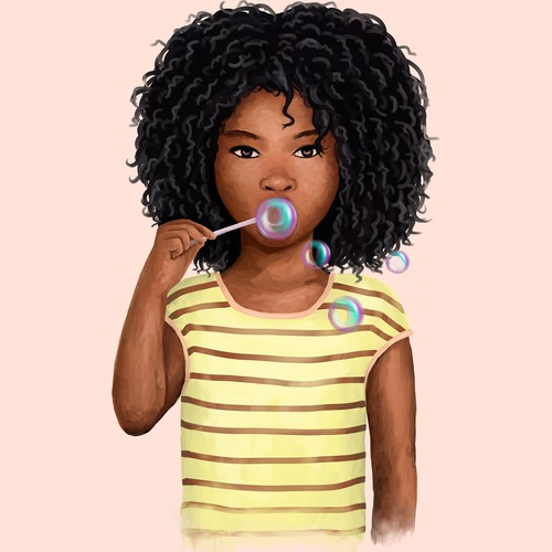 Illustration of an African American girl
