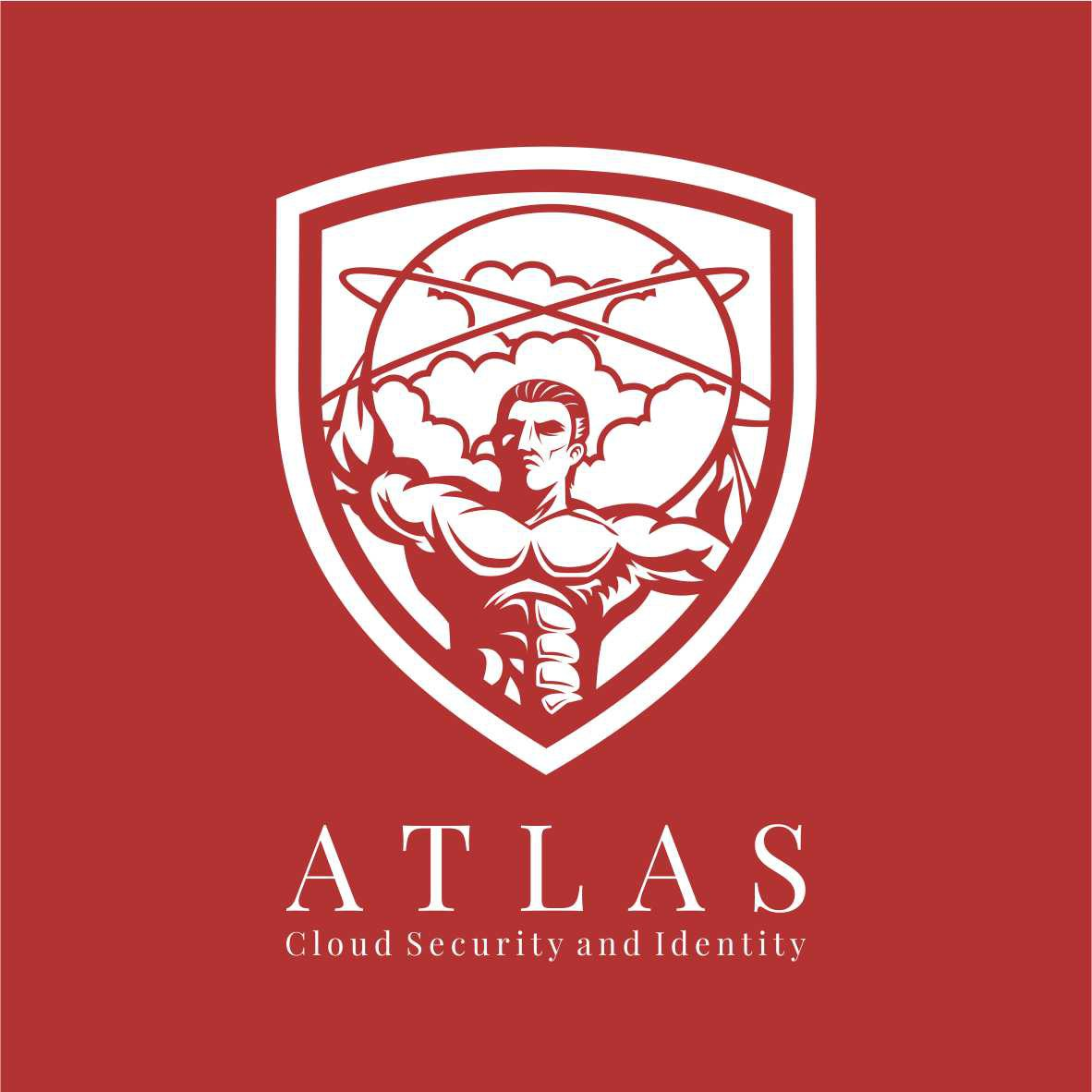 Design a powerful logo portraying Atlas carrying the weight of clouds and technology