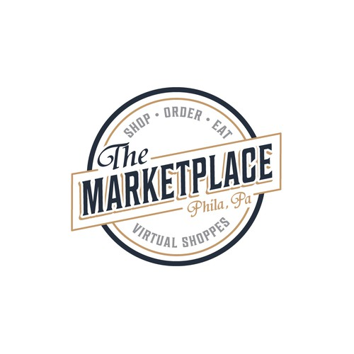 classic logo for a virtual collection of small business shops