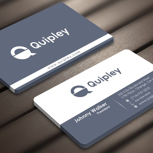 Create a clean business card for Quipley