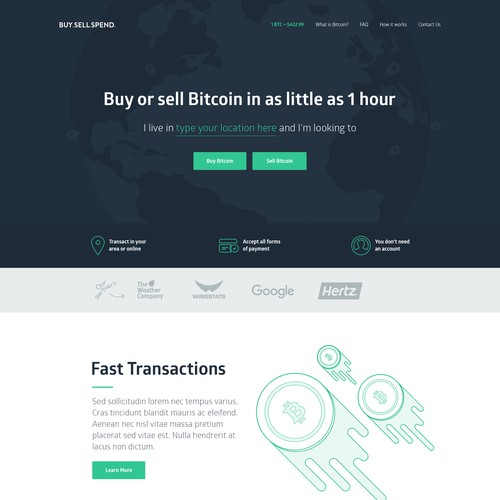 Buy.Sell.Spend Homepage Design