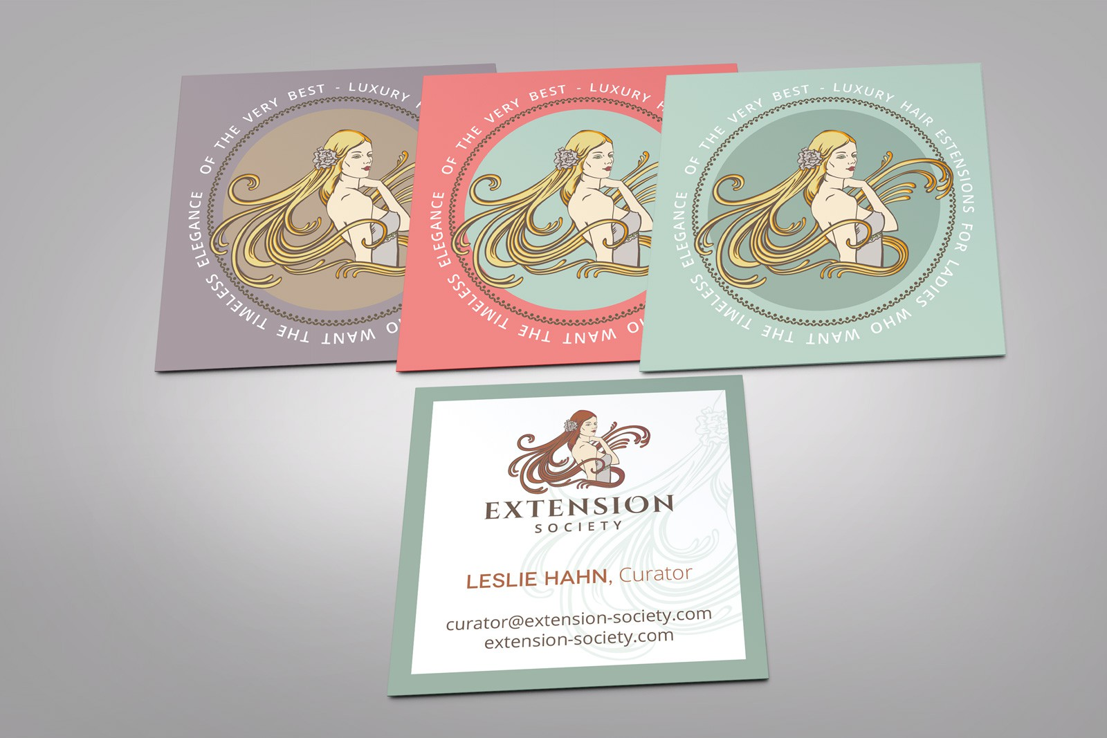 Hair Extension Co. seeks creative and elegant ideas for business card.