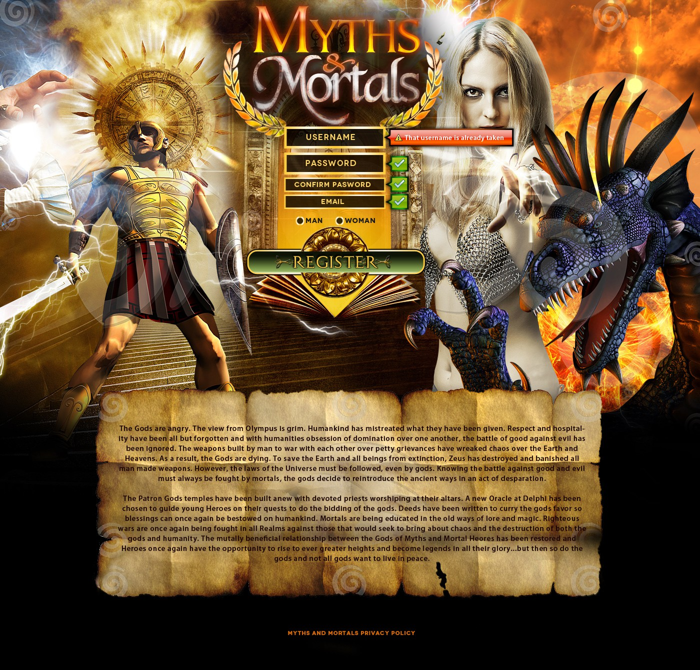 website design for Myths And Mortals
