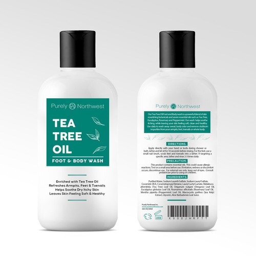 Tea Tree Body Wash Label