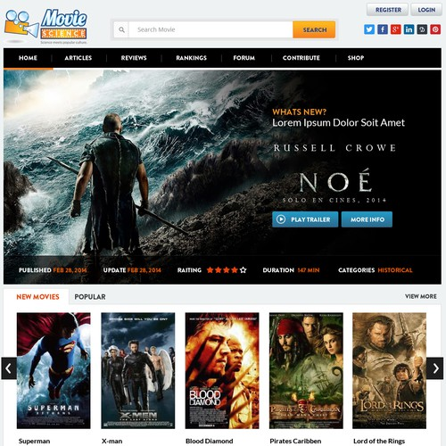 Homepage for entertaining movie website