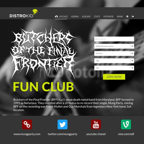 Fun Club Landing page