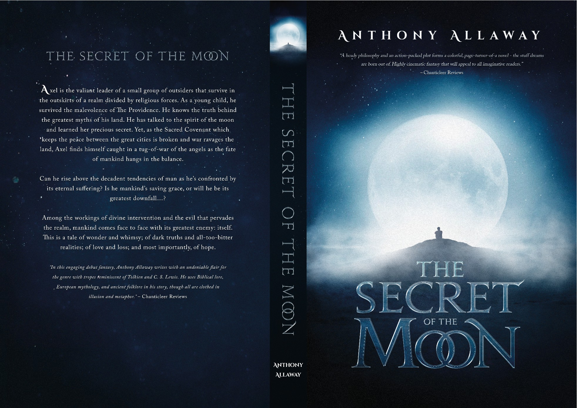 Looking for simple, elegant book cover design. Fantasy novel titled The Secret of the Moon.