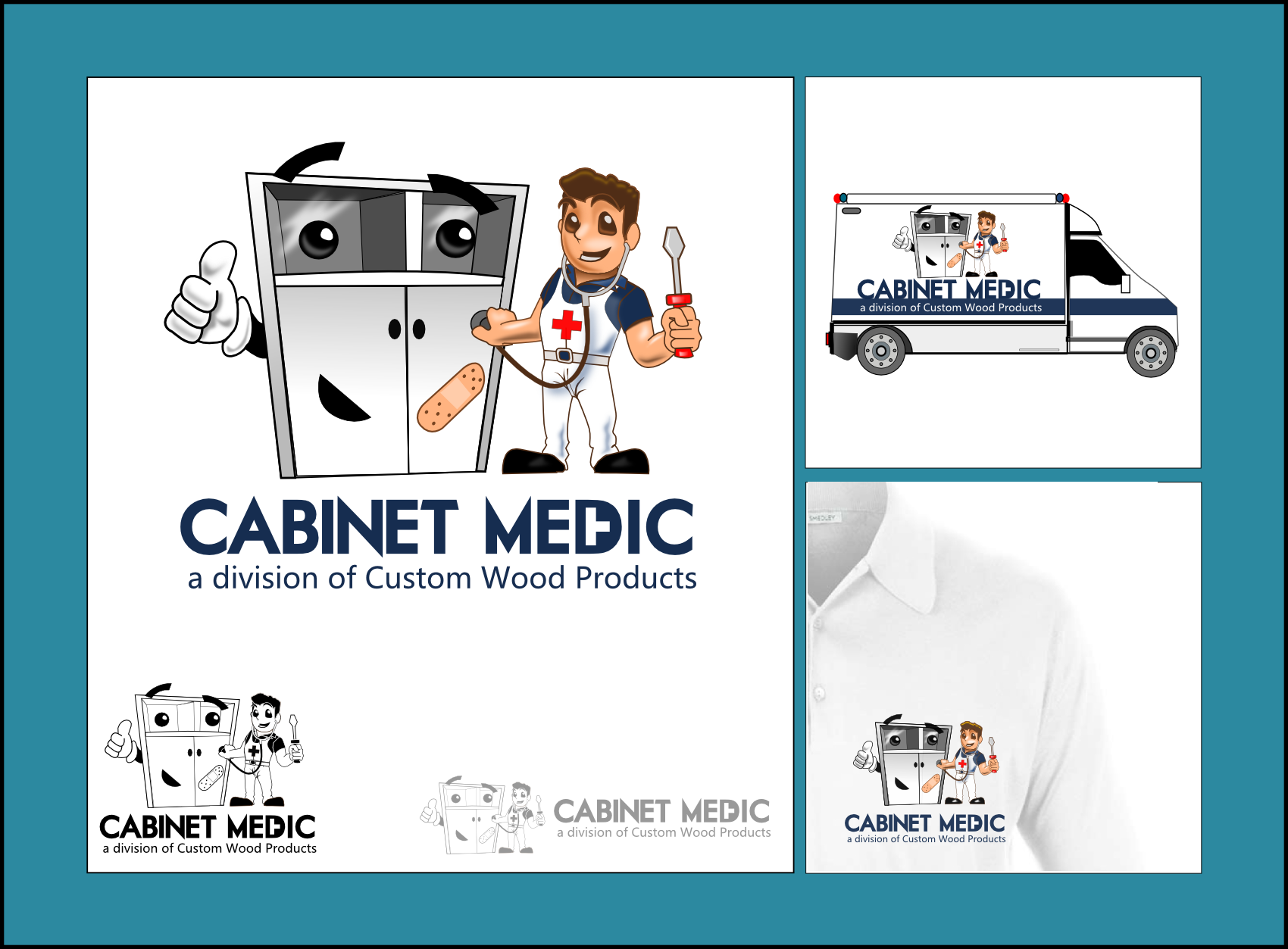 Help Cabinet Medic (a division of Custom Wood Products) with a new logo