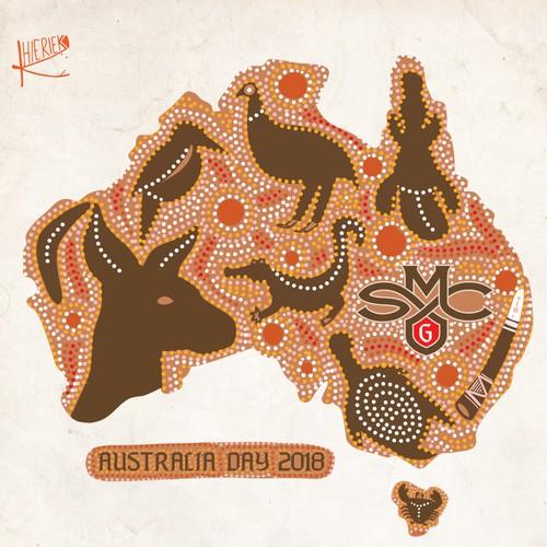 Aboriginal dot art inspired design to celebrate Australia Day