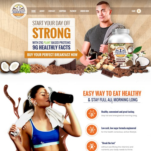 Final Home Page Design for Breakfast Protein