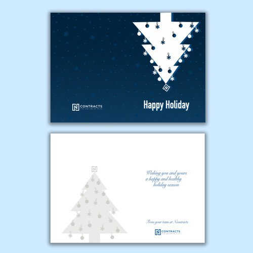 Christmas card with upside-down tree