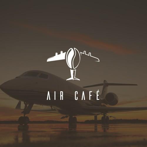 Coffee + plane logo concept