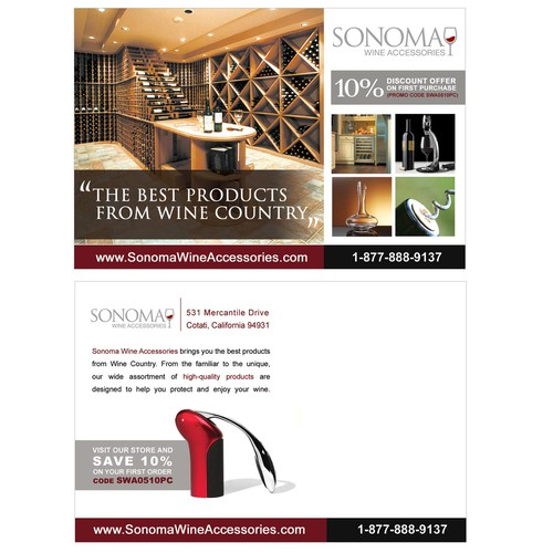Postcard to introduce new webstore: Sonoma Wine Accessories