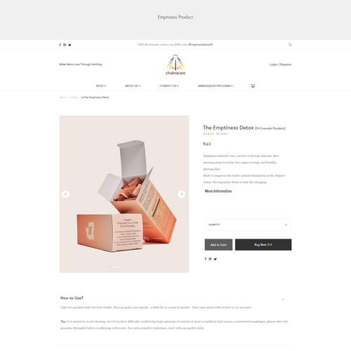 Clean& simple Product details page.