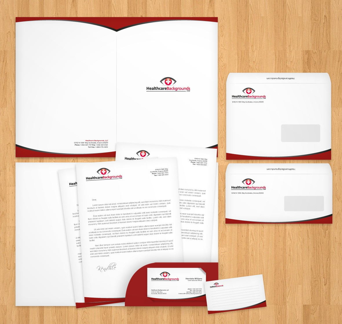 Create the next stationery for Healthcare Backgrounds LLC