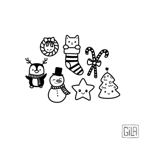 Christmas kawaii sketches