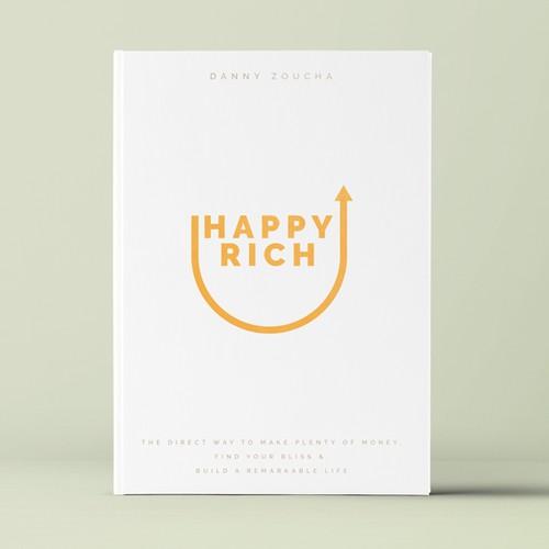 "Book cover design concept for ""Happy Rich"""