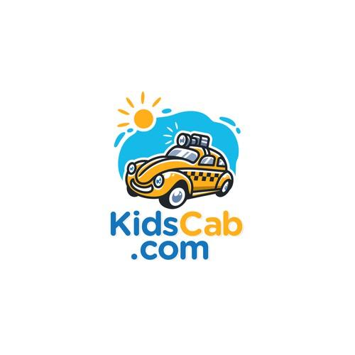 Fun cartoon style logo for KidsCab.com