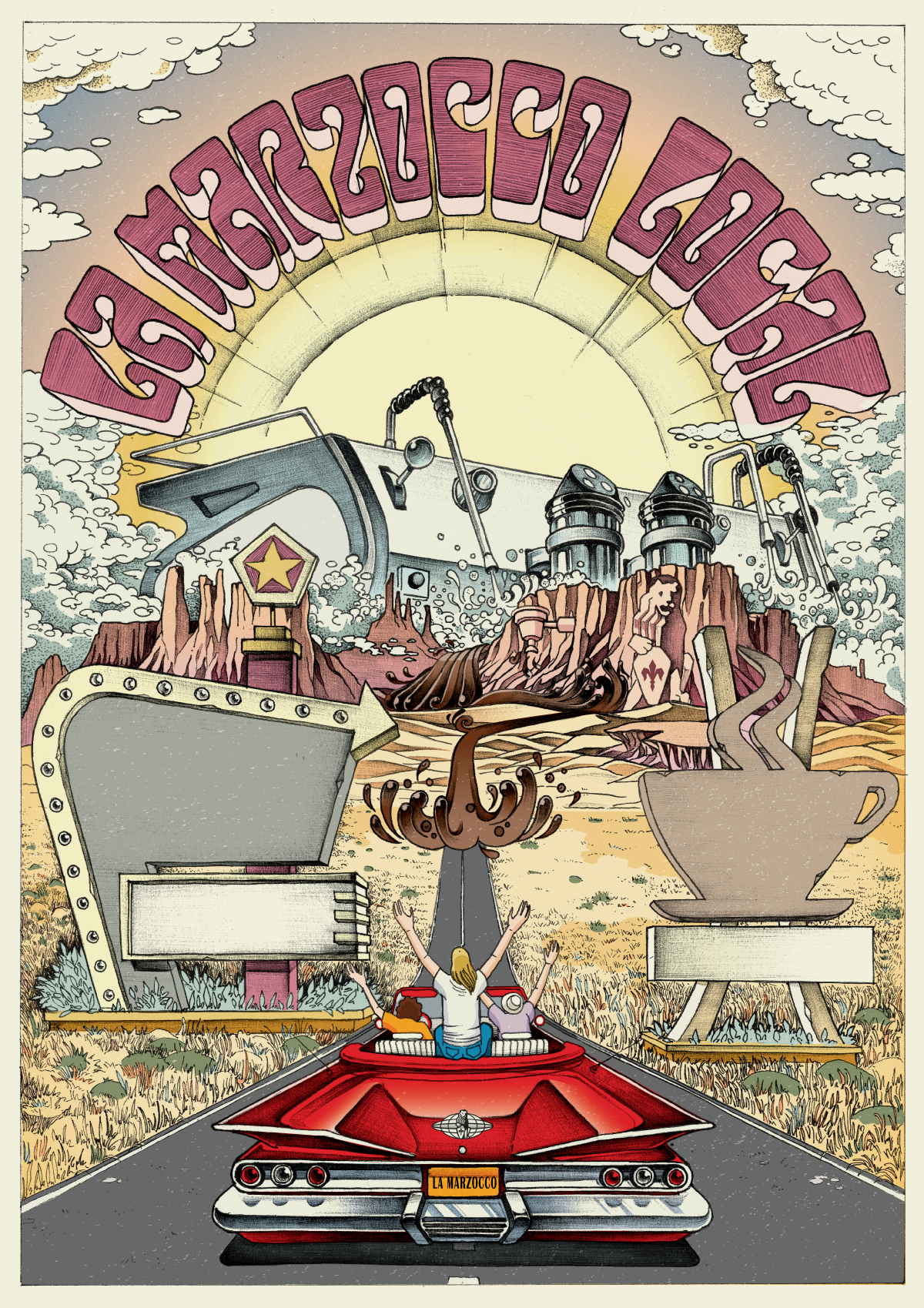 Illustrated/Animated 1960s Desert Road Trip/Psychedelic/Fear & Loathing - La Marzocco Poster