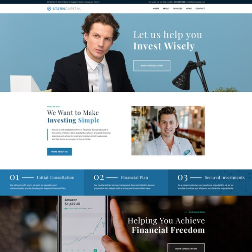 Homepage design for Stern Capital