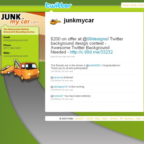 Twitter page for JunkMyCar