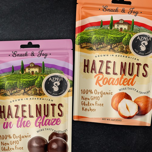 AZNUT Nuts raw natural hazelnuts and roasted hazelnuts