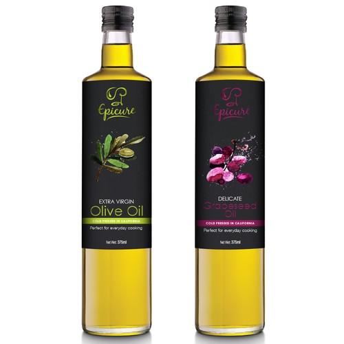 Olive Oil & Grapeseed Oil Label design.