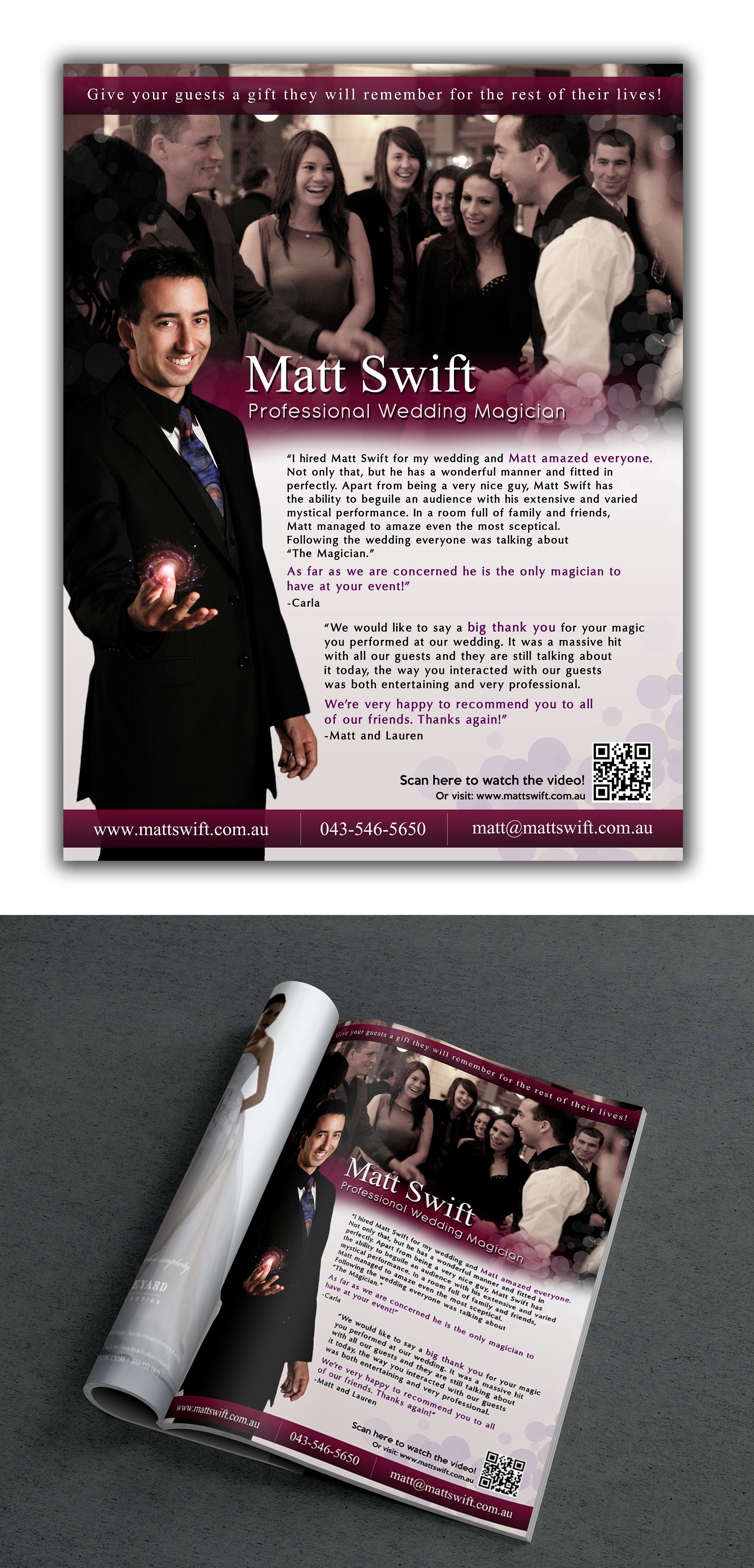 Create a Full Page MAGICIAN advertisement for Brides to be!