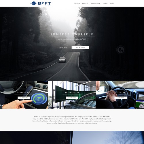 Landing page design for BFFT