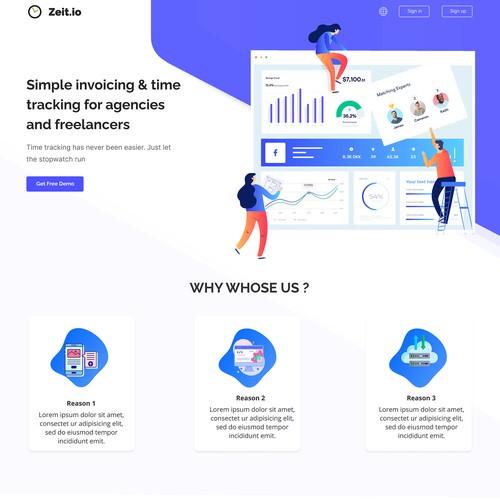 Zeit.io Landing Page