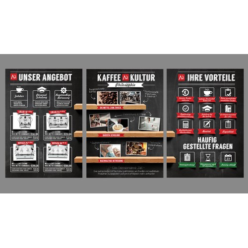 Create visual product information pages & pricing table for gastronomy coffee clients