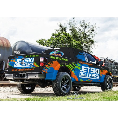 Ford F 350 vehicle wrap for JET SKI DELIVERY.