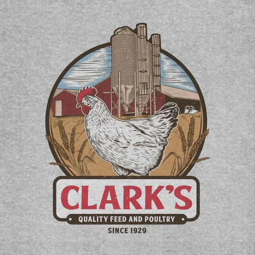 Clark's feed and poultry tshirt design