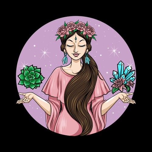 women with flowers in her hair holding crystals