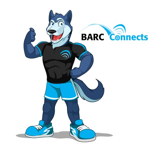 Sporty Husky mascot for Barc Connects