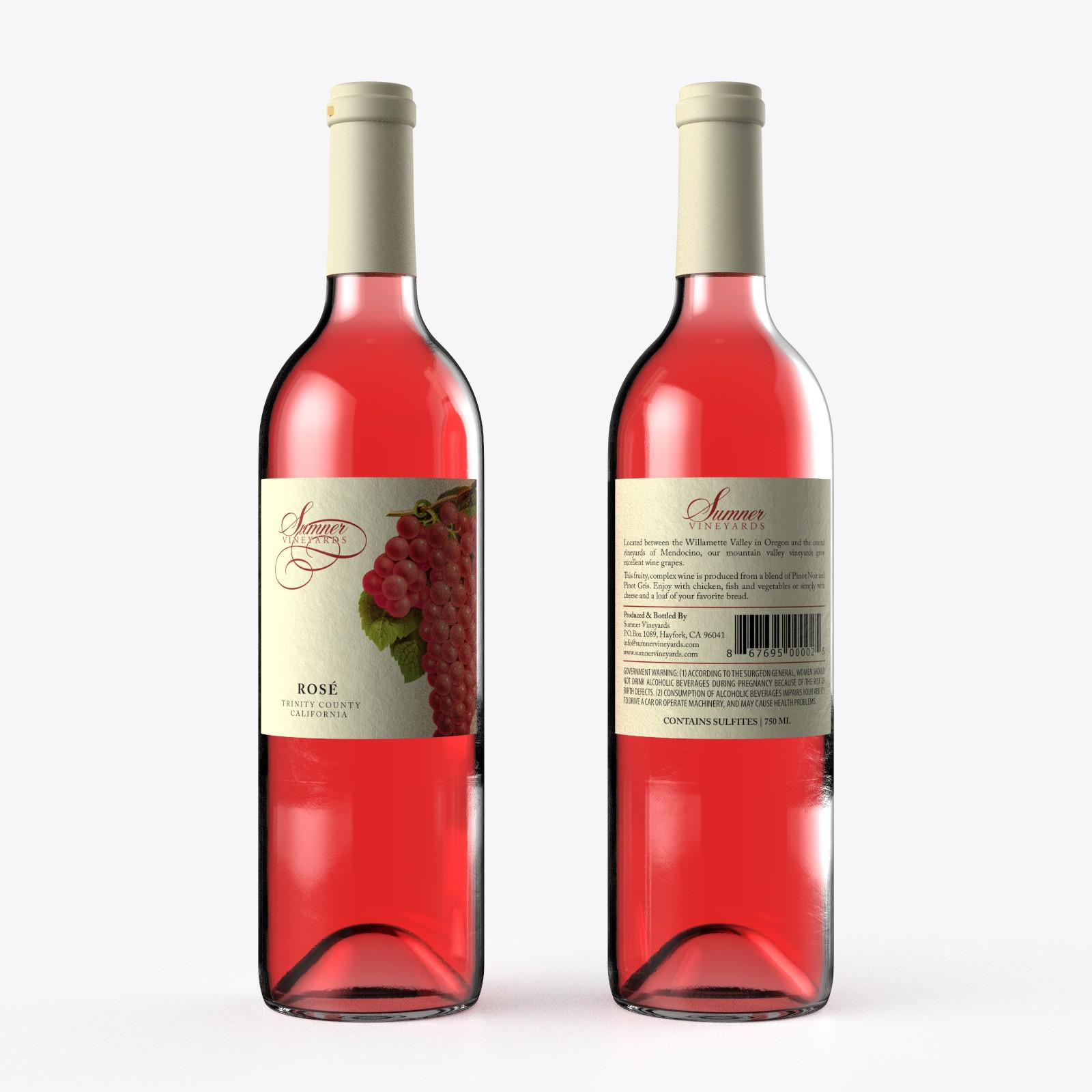 Create an eye catching label design for Sumner Vineyards Rose' Wine