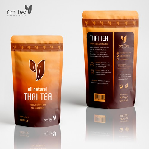 Pouch design for 100% natural tea brand