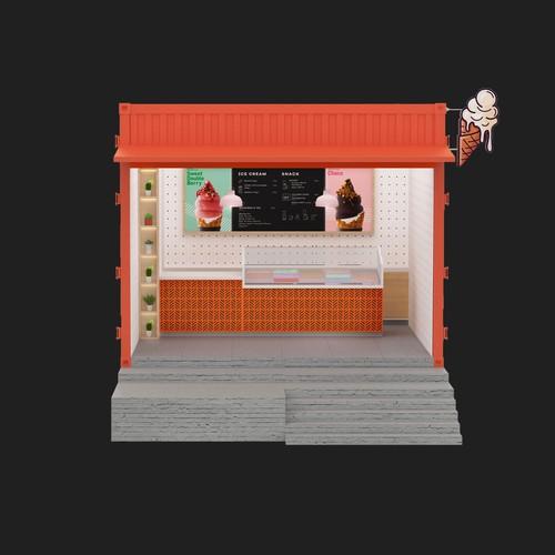 3d kiosk design ice cream
