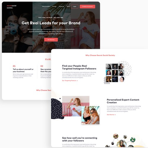 Landing page for social media marketing company