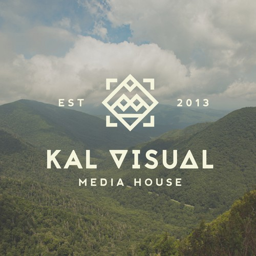 Create a crisp, minimalistic, and vintage style design for Kal Visuals Media and Production house