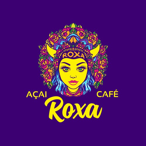 Bright and colorful logo for Acai Cafe