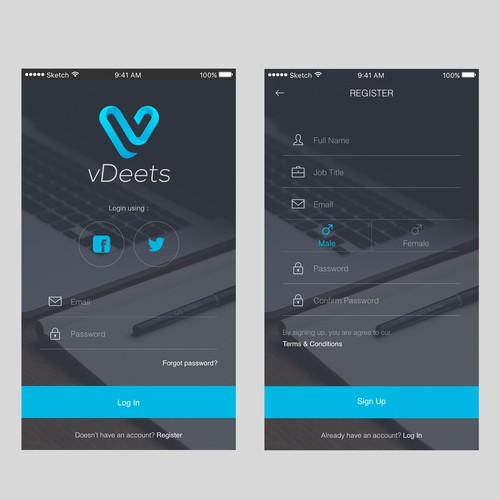 UI Designs for vDeets - mobile (iOS)