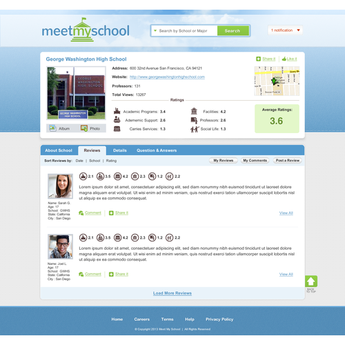 Meetmyschool needs a new website design
