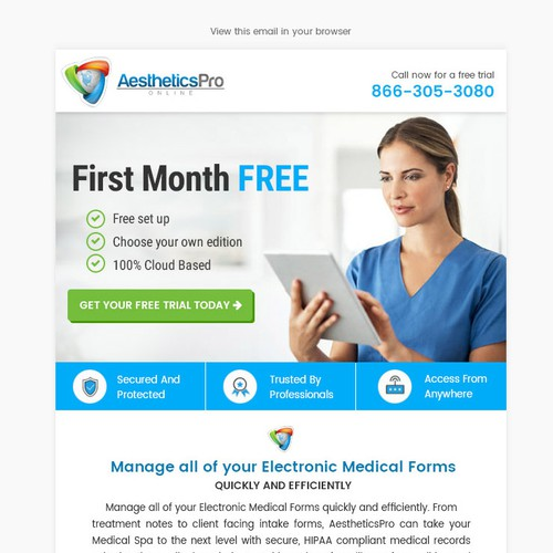 Email design for Aesthetics Pro
