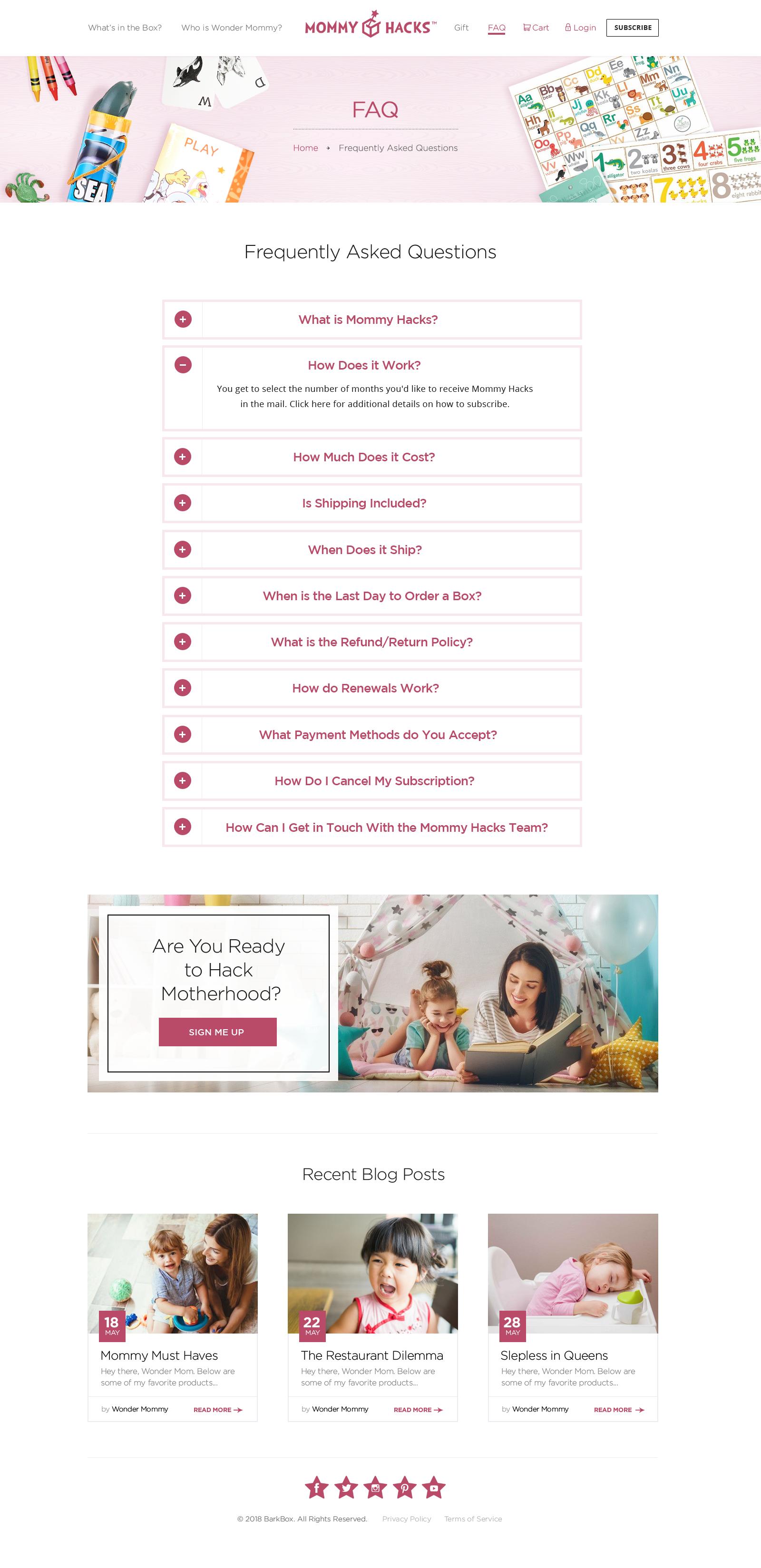Design a Sleek, Modern, Feminine Web Page for Mommy Hacks Subscription Box