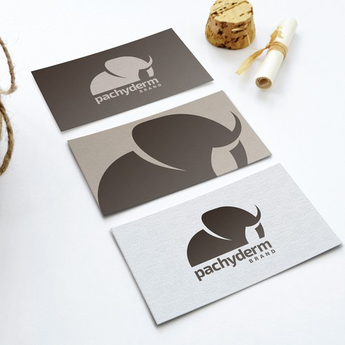 Create a simple, artsy pachyderm illustration with brand name for The Pachyderm Brand