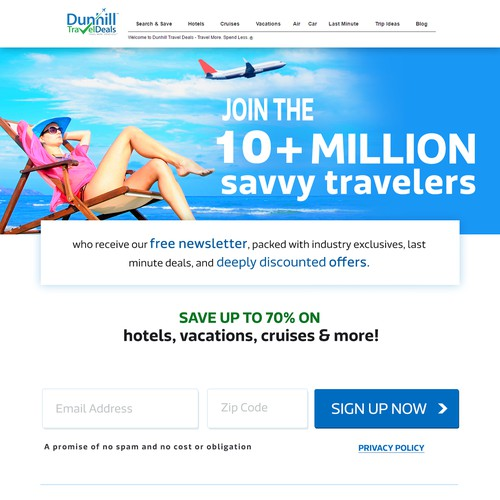 Web design for Dunhill Travel Deals