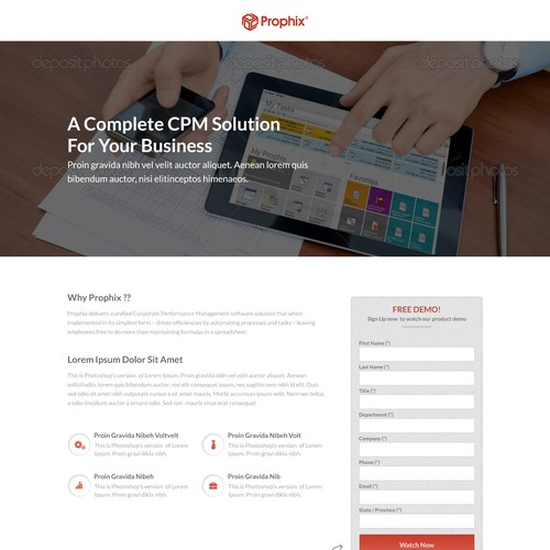 Landing Page For Software Demo Sign Up