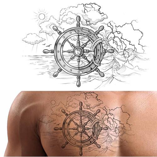 Yin & Yang Boat Wheel Tattoo